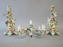 Large continental porcelain five light candelabra