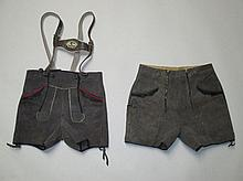 Two grey leather Austrian style lederhosen shorts
