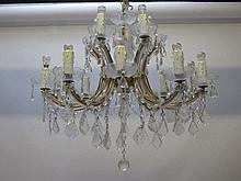 Pair good modern Venetian glass 15 light two tier