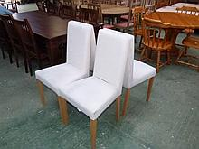 4 modern cream upholstered dining chairs