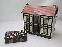 Large mock Tudor dolls house with accessories