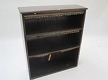 Small open bookcase with leather trim 84W x 99H