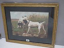 Oil painting Study of two terrier dogs on the