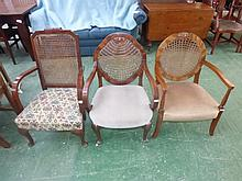 Three various 1930's bergere armchairs
