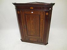 Good quality George III oak & mahogany corner
