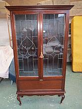 Art Nouveau mahogany two door display cabinet