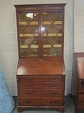 George III and later mahogany bureau bookcase