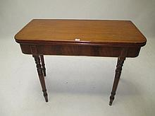 Victorian mahogany foldover tea table on turned