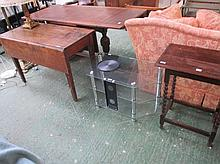 Oak drop leaf table, barley twist table and TV