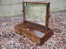 C19th rosewood dressing table mirror with three