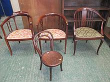 Three Edwardian inlaid tub chairs and child's