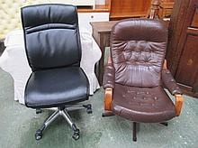 Modern brown leather reclining swivel chair and