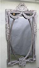 Large French style painted grey wash mirror 166x97