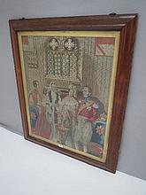 Victorian gros-point tapestry panel depicting a