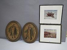 Two oval papier mache pictures of hanging fish &