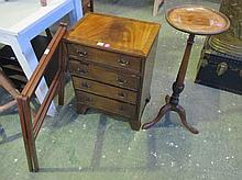 Small mahogany chest of 4 long drawers and