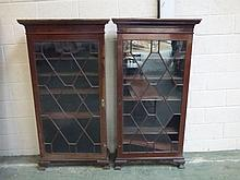 Pair of mahogany astragal glazed standing