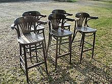 5 Stained pine bar stools