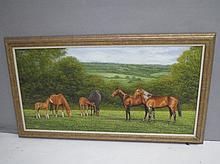 B.J. DAVIS (C20th English School) mares & foals in