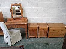 Modern pine dressing table, chest and pair of