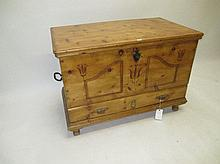 Antique continental pine mule chest with carved