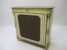 Regency painted side cabinet with wire grill &