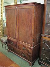 George III mahogany linen press with two short &