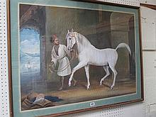 C20th Indian School painting grey Arab stallion