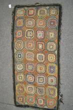 19TH CENT GEOMETRIC HOOKED RUG 76