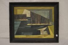 CONTEMPORARY ART COMPOSITION SIGNED P McSHEA, 1953 OIL ON BOARD, 19.5