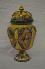 18TH CENT ITALIAN MAJOLICA COVERED URN WOVEN ICISED DECORATION; 9