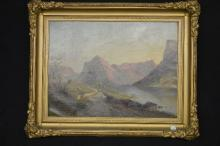 19TH CENT OIL PAINTING, EUROPEAN LANDSCAPE IN PERIOD FRAME; 24