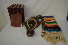 ANTIQUE HORSE HAIR HACKAMORE AND BLANKET WOVEN BY AUTHOR, WITH 2 RELATED BOOKS SIGNED BY AUTHOR LUIS ORTEGA AND 4 WESTERN HORSEMENT MAGAZINES IN BINDERS