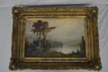 19TH CENT UNSIGNED OIL ON CANVAS HUDSON RIVER VALLEY PAINTING; 21