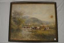 WATER COLOR OF A FARM, SIGNED MALCOM '88