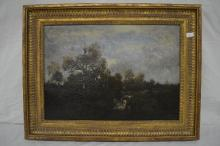 19TH CENT OIL ON BAORD LANDSCAPE, ATTRIBUTED TO COROT; 15.5