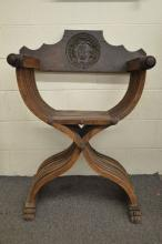 CRESTED AND CARVED 19TH CENTURY FOLDING CHAIR CONTENTAL; 38