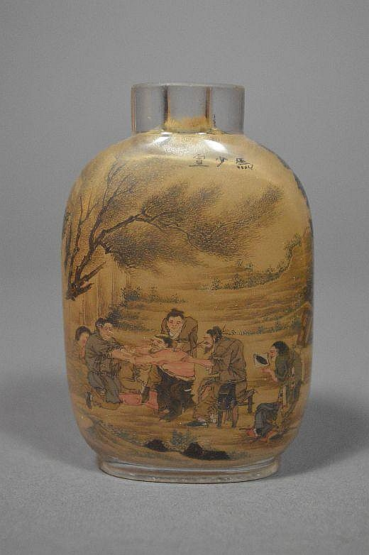 Reverse painting on glass snuff bottle.