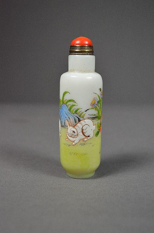 Enameled on Peking glass snuff bottle