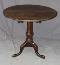 English oak tilt top table on tri-ped base