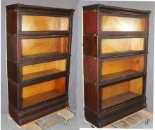 Set of 2 Macey 4-stack barrister bookcases in oak