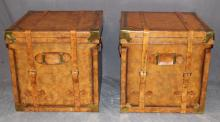Pair Maitland Smith leather trunk side tables