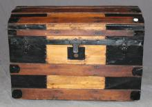 Ship's trunk wood wrapped with iron.