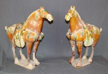 Pair of Chinese glazed terra cotta tang style horses