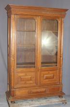 French oak 2 door bookcase