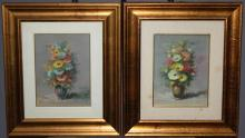 Lot of 2 stillife oil on artist board paintings signed l/l Saru. (Aldo Carlomagno, Italian XX) 9 1/2