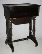 Ebonized sewing box on turned legs. With lift top and mirror. Early 20th century. 29 1/2