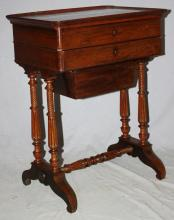 Victorian sewing box in rosewood on turned legs. Late 19th century. 28 3/4
