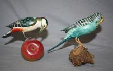 Lot of 2 hand carved and painted wood birds. Parakeet 6