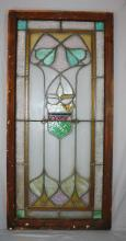 Antique American stained & leaded glass window. 42